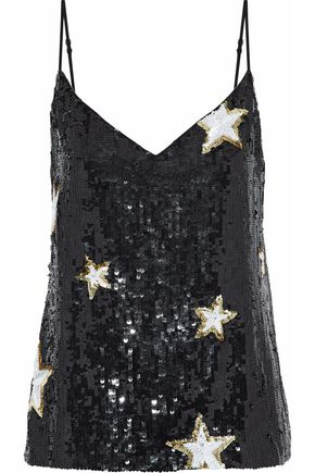 L'AGENCE Jane sequined crepe de chine camisole