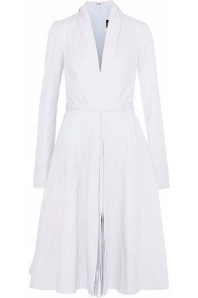 BRANDON MAXWELL Pleated cotton-blend twill dress