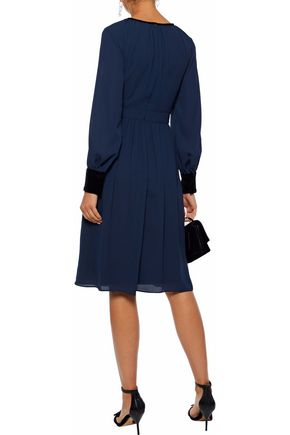 Velvet Trimmed Crepe De Chine Dress by Mikael Aghal