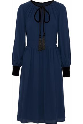 MIKAEL AGHAL Velvet-trimmed crepe de chine dress