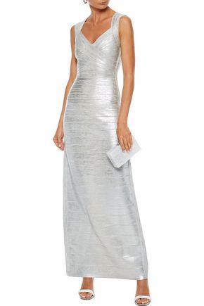 8defe533baf HERVÉ LÉGER Estrella cutout metallic coated bandage gown