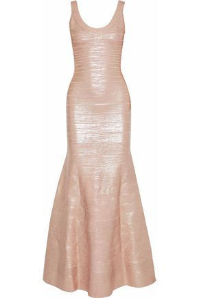 HERVÉ LÉGER Ellen fluted metallic coated bandage gown