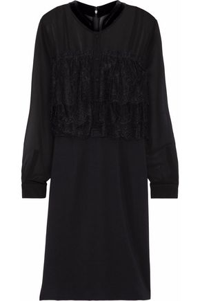 MIKAEL AGHAL Paneled chiffon, lace and crepe dress