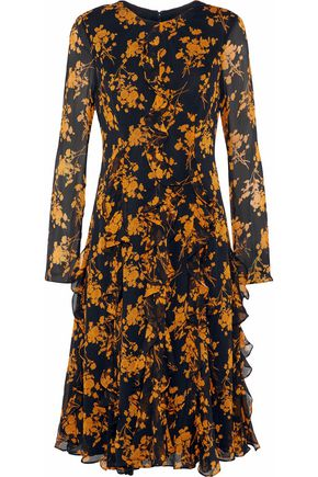 MIKAEL AGHAL Ruffled floral-print georgette dress