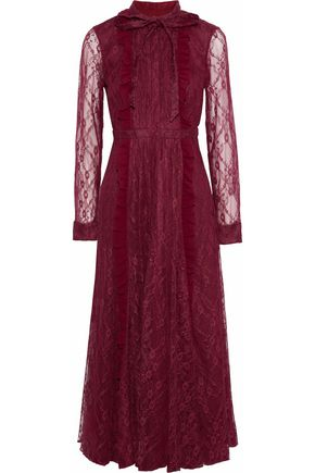 MIKAEL AGHAL Pussy-bow ruffle-trimmed lace midi dress