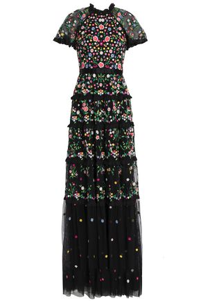 NEEDLE & THREAD Broderie anglaise-trimmed embroidered tulle gown