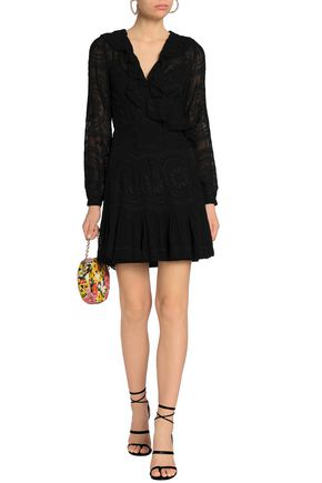 NEEDLE & THREAD Ruffle-trimmed embroidered georgette mini wrap dress