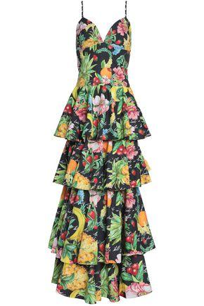 CAMILLA Printed tiered cotton-poplin maxi dress