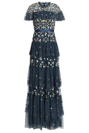 NEEDLE & THREAD Tiered embellished embroidered tulle gown