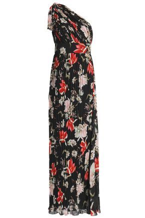 MIKAEL AGHAL One-shoulder pleated printed chiffon gown