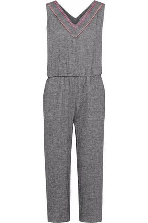 LEMLEM Kito cropped herringbone cotton-blend jumpsuit