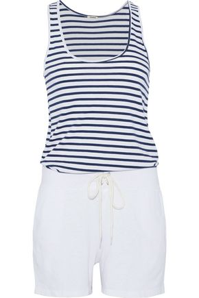 MONROW Striped stretch-jersey and terry playsuit