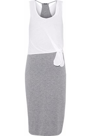MONROW Knotted layered stretch-jersey dress