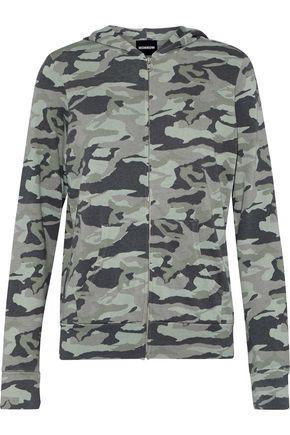 MONROW Printed terry hoodie