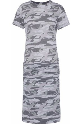 MONROW Ruched printed stretch-jersey dress