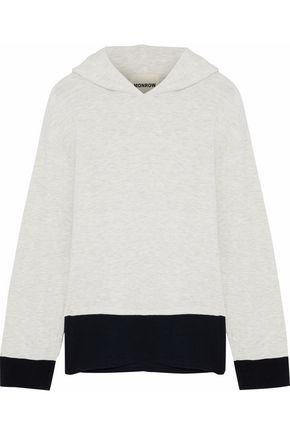 MONROW Mélange two-tone terry hooded sweatshirt