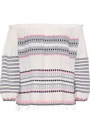 LEMLEM Makari off-the-shoulder embroidered cotton and wool-blend blouse