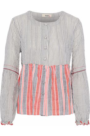 LEMLEM Striped seersucker cotton-blend top