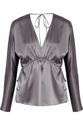ELIZABETH AND JAMES Ophelie gathered silk-blend satin blouse