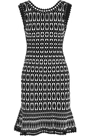 HERVÉ LÉGER Fluted jacquard-knit dress