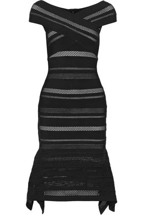 HERVÉ LÉGER Pointelle-trimmed bandage dress