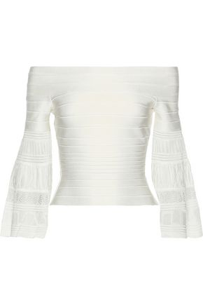 HERVÉ LÉGER Off-the-shoulder fluted bandage top