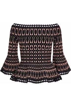 HERVÉ LÉGER Off-the-shoulder jacquard-knit peplum top
