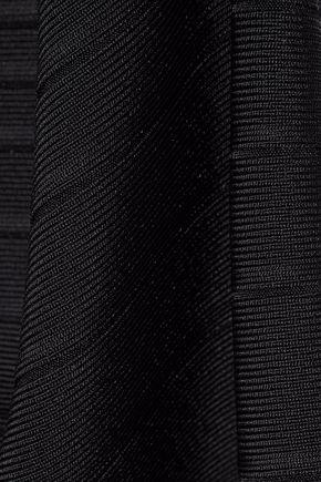 HERVÉ LÉGER Pleated stretch knit-paneled bandage mini dress
