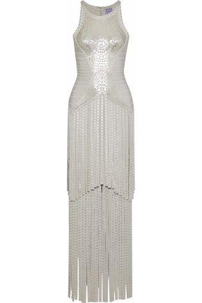 HERVÉ LÉGER Fringed metallic printed bandage gown