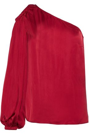 ELIZABETH AND JAMES Denissa one-shoulder cutout satin blouse