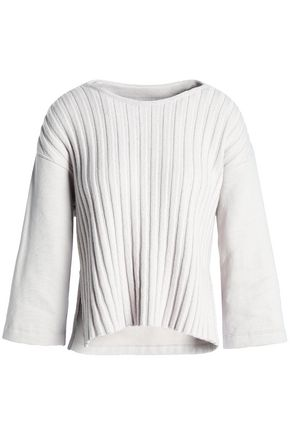 GENTRYPORTOFINO Paneled ribbed-knit cotton and wool top