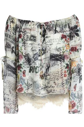 CAMILLA Memory Lane off-the-shoulder embellished printed silk crepe de chine top