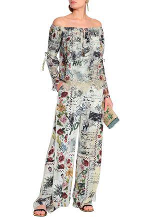 bf839455d6451 CAMILLA Memory Lane off-the-shoulder embellished printed silk crepe de  chine top