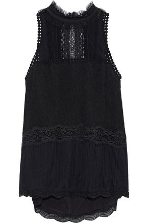 JONATHAN SIMKHAI Lace-trimmed tulle top