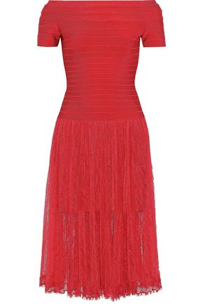 HERVÉ LÉGER Barbara off-the-shoulder bandage and lace dress