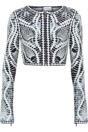 HERVÉ LÉGER Imogen cropped jacquard-knit top