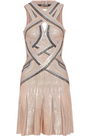 HERVÉ LÉGER Daga cutout metallic bandage mini dress