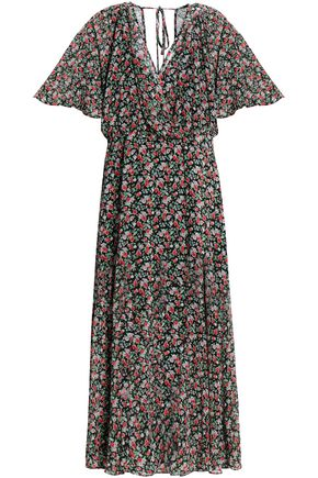 REBECCA MINKOFF Wrap-effect floral-print chiffon midi dress