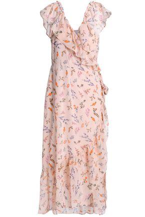REBECCA MINKOFF Ruffled floral-print chiffon wrap midi dress