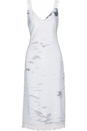 DEREK LAM Crochet-trimmed sequined crepe midi dress