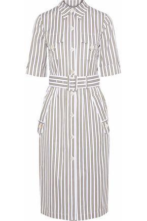 DEREK LAM Belted striped cotton-poplin shirt dress
