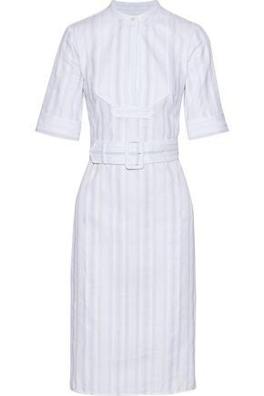 DEREK LAM Belted embroidered cotton-voile dress