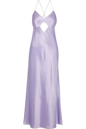 MICHELLE MASON Open-back cutout silk-satin midi dress