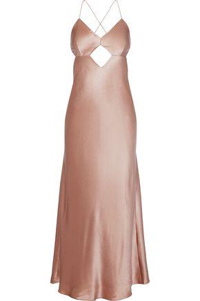 MICHELLE MASON Open-back cutout silk-charmeuse midi slip dress
