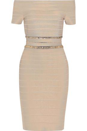 HERVÉ LÉGER Marina off-the-shoulder crystal-embellished bandage dress