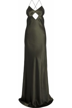MICHELLE MASON Open-back cutout silk-charmeuse gown