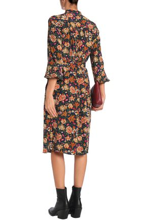 VANESSA BRUNO Pussy-bow floral-print silk dress