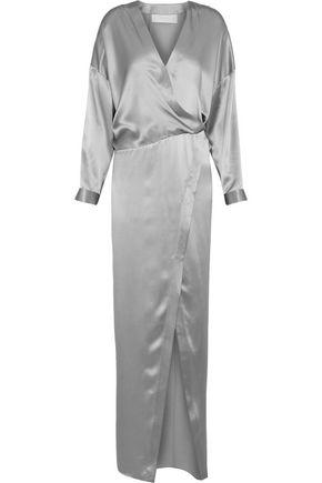 MICHELLE MASON Wrap-effect silk-satin gown
