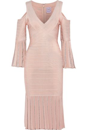 HERVÉ LÉGER Autumn cold-shoulder fluted bandage dress