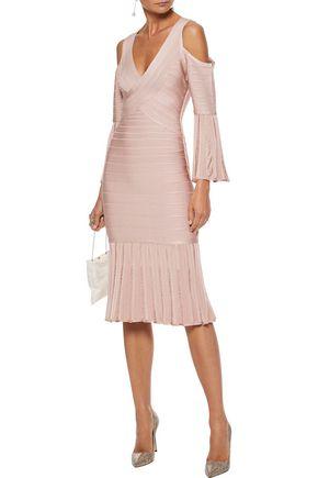 HERVÉ LÉGER Autumn cold-shoulder fluted bandage dress